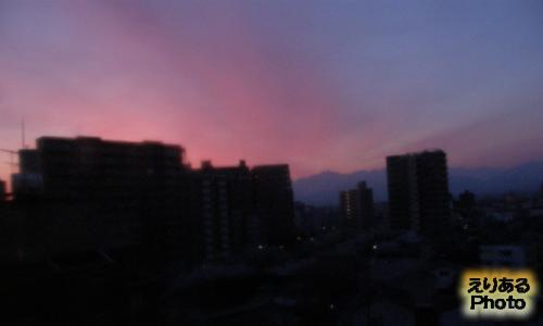 富山マンテンホテルから見た朝焼け