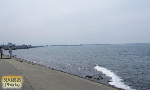 ほたるいかミュージアムからある建物から見た富山湾
