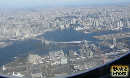 空からレインボーブリッジやお台場、東京等
